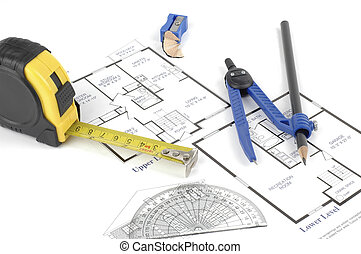 Interior Design - Floor plans and tools of the trade used to...
