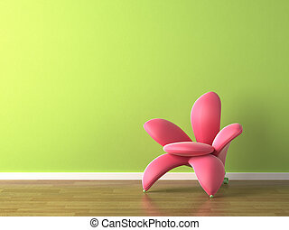 interior design pink flower shaped armchair on green