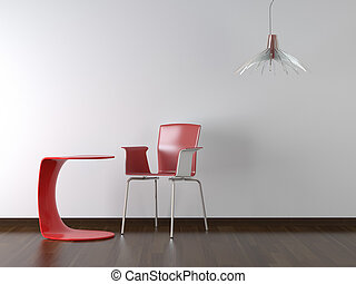 interior design red chair and table on white