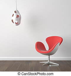 interior design red modern chair and lamp