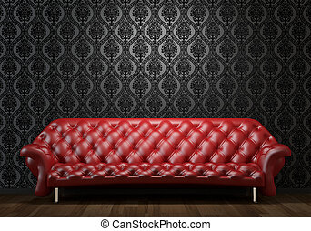 red leather couch on black wall - interior design scene of...