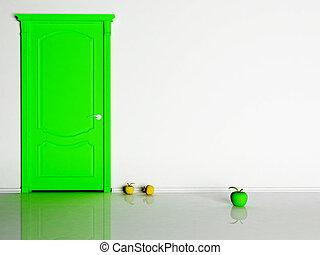 Interior design scene with a green door