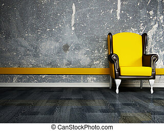Interior design scene with an  armchair