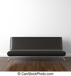 black leather couch on white