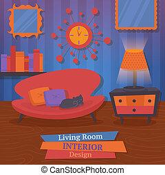 Interior indoor living room design with sofa mirror clock vector illustration
