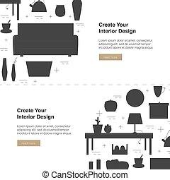 Interior Design Vector Web Banner. Modern home design template with illustration. Home appliances design concept.