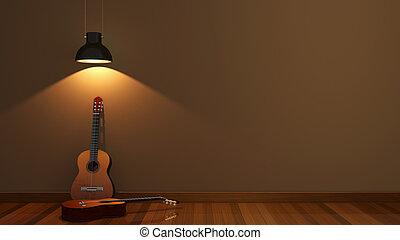 interior design with acoustic guita