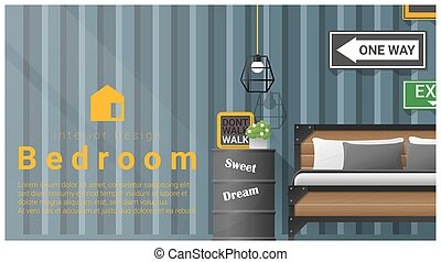 Interior design with Modern bedroom background 8