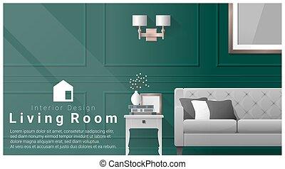 Interior design with Modern living room background 3