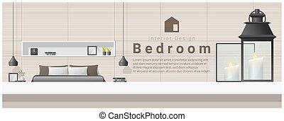 Interior design with table top and Modern bedroom background 4