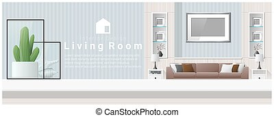 Interior design with table top and Modern living room background 3