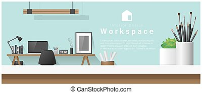 Interior design with table top and Modern office workplace background 2
