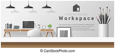 Interior design with table top and Modern office workplace background 5