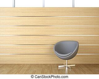 interior design of wood cladding wall with grey modern arcmhair