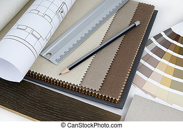 Interior design worktable with material