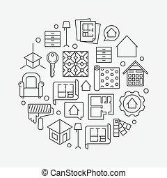 Interior designer circular illustration - vector outline...