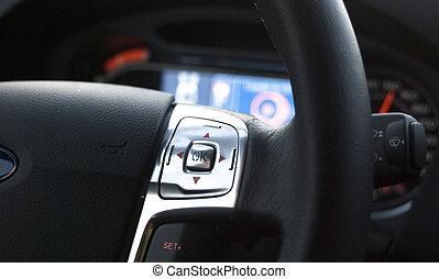 steering wheel - interior detail of car, steering wheel and...