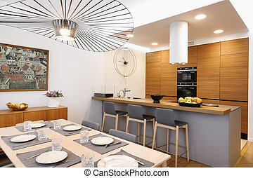 Interior dining area with kitchen