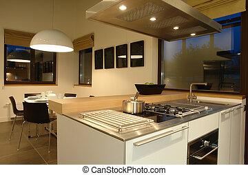 interior, dinning, sala, cozinha