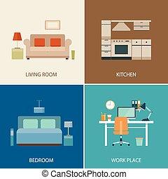 interior, diseño determinado, habitación