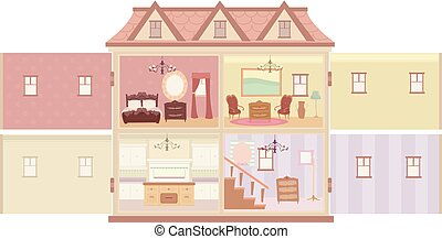 Interior Doll House Illustration