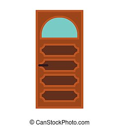 Interior door with glass icon, flat style