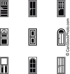 Interior doors icons set, simple style
