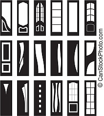 Interior doors - Silhouette of modern and classic interior...