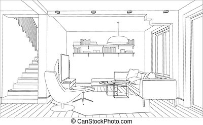 Interior - Line drawing of the interior on a white...