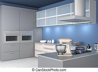 interior, elegante, modernos, cozinha
