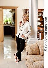 interior, elegante, mulher, luxo