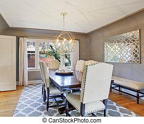 interior, elegante, sala, jantar