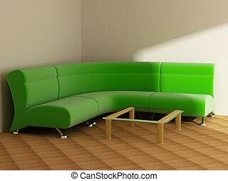interior, em, luz, tons, sofá, tabela