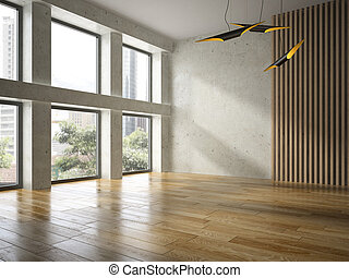 Interior empty room 3D rendering - Interior of empty room 3D...