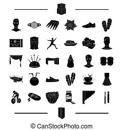 interior, entertainment, sport and other web icon in black style. agriculture, recreation, wedding icons in set collection