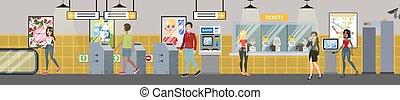 interior, entrada, contador, metrô, ilustração