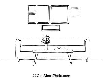 interior, esboço, modernos, estilo, linear
