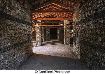 interior, escalofriante, edificio, ático, abandonado