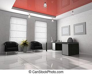interior escritório, 3d, fazendo
