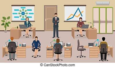 interior escritório, com, empregado, e, boss., trabalho equipe, negócio, situation.