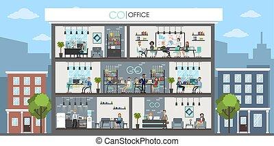 interior, escritório, edifício.