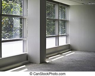 interior escritório, parede, vidro