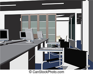 interior escritório, quartos