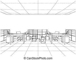 interior escritório, vetorial, quartos