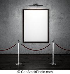 interior escuro, com, levantar, barreiras, e, em branco, quadro