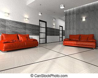 interior, esperando, quarto moderno, escritório