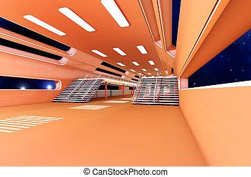 interior, estación, espacio