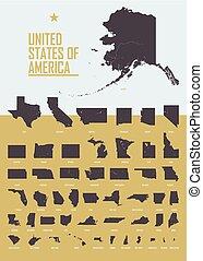 interior, estados, américa, cartaz, tamanho, território, poste, ou, estados, mapa, unidas, detalhado, cartão, eua