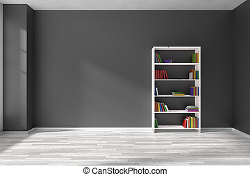 interior, estante, pretas, sala, vazio