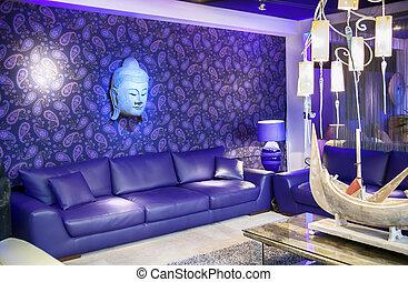 interior, estilo, asiático